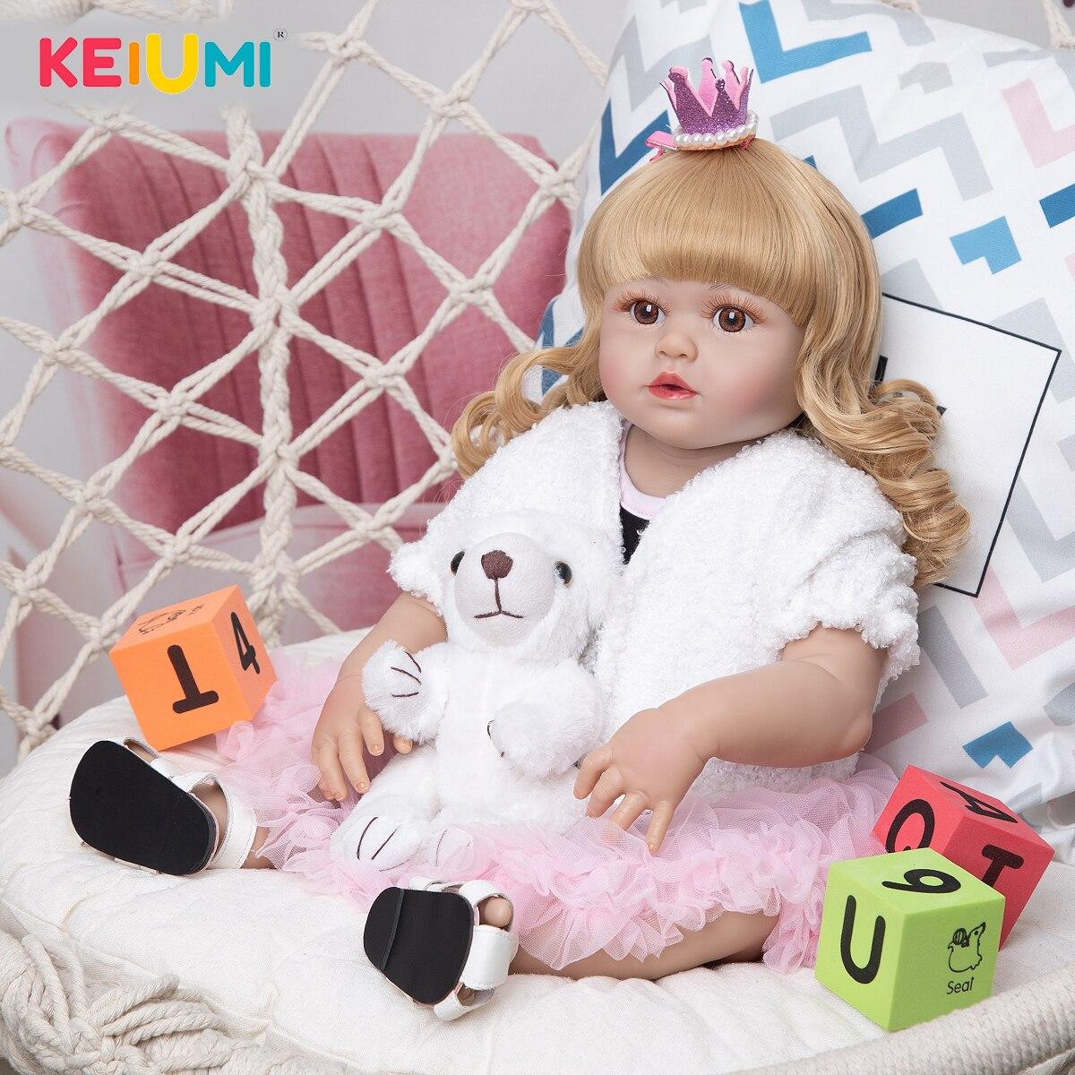KEIUMI Hot Sale Reborn Dolls Full Vinyl Body 57cm Lifelike Fashion Princess Baby Doll Boneca Reborn Toy For Children's Day Gift
